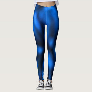 Blue and Black Abstract Art Running Yoga Exercise Leggings