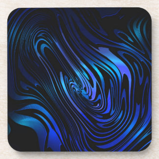 Blue and Black Abstract Swirl Art Coaster