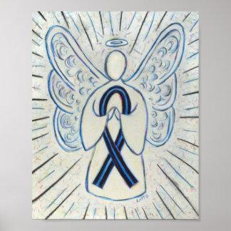 Blue and Black Awareness Ribbon Angel Poster Print