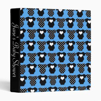 Blue and Black Baby Shower 3 Ring Binder