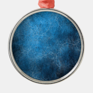 Blue And Black background Silver-Colored Round Ornament