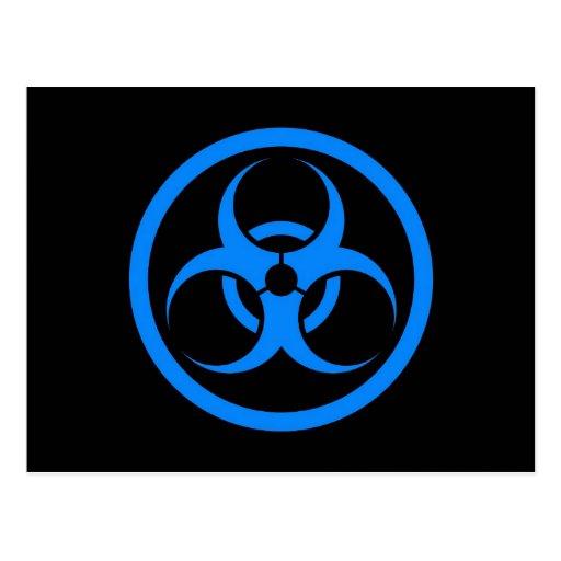 Blue and Black Bio Hazard Circle Postcard