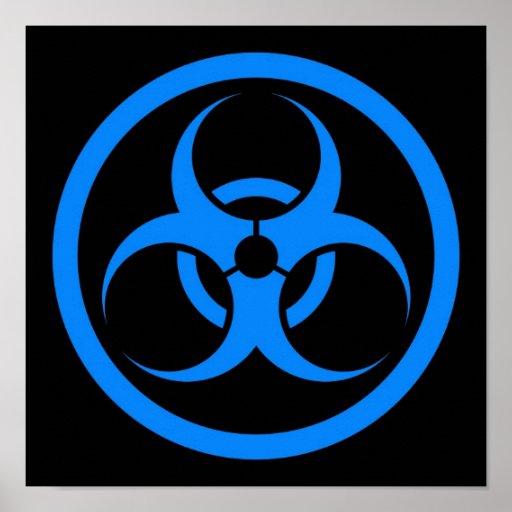 Blue and Black Bio Hazard Circle Posters
