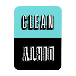 Blue and Black Block Retro Typography Dishwasher Magnet