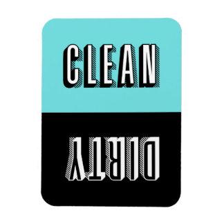 Blue and Black Block Retro Typography Dishwasher Rectangular Photo Magnet