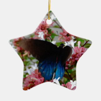 Blue and Black Butterfly on pink flowers Ceramic Star Ornament