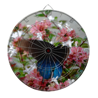 Blue and Black Butterfly on pink flowers Dartboard