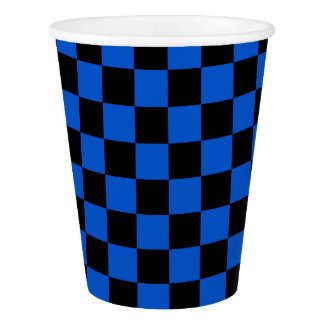blue and black check pattern paper cup