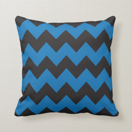 Blue and Black Chevron Pillow