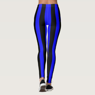 Blue and Black Coloured striped pattern Leggings