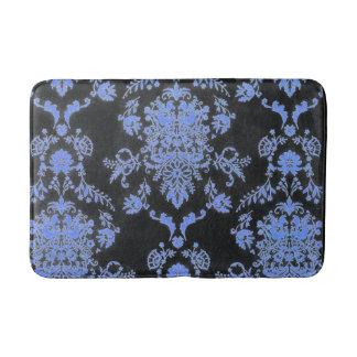Blue and Black Damask Print Bathroom Mat
