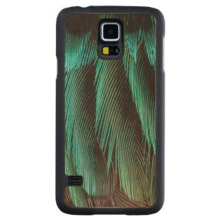 Blue And Black Feather Design Carved Maple Galaxy S5 Case