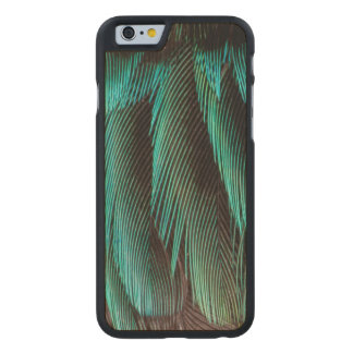 Blue And Black Feather Design Carved Maple iPhone 6 Case