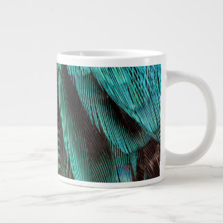 Blue And Black Feather Design Large Coffee Mug