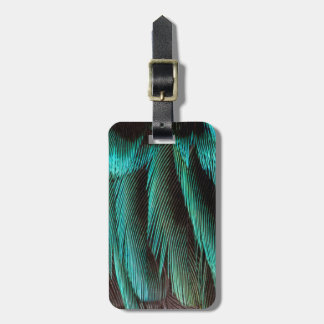 Blue And Black Feather Design Luggage Tag