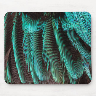 Blue And Black Feather Design Mouse Pad