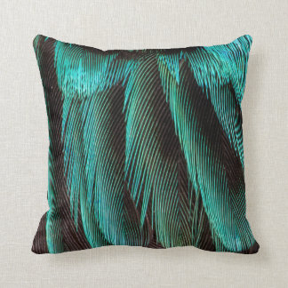 Blue And Black Feather Design Throw Pillow