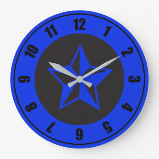 Blue and Black Five Points: Acrylic Wall Clock