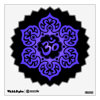 Blue and Black Floral Om Wall Decal