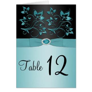 Blue and Black Floral Table Number/Menu Card