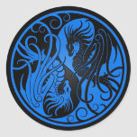 Blue and Black Flying Yin Yang Dragons Round Sticker
