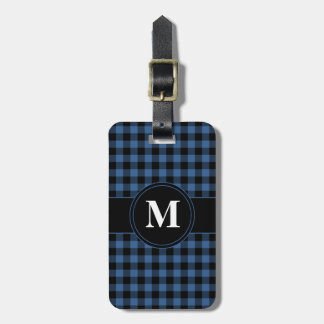 Blue and Black Gingham checked Monogram Luggage Tag