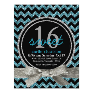 Blue and Black Glitter Look Chevron Sweet 16 Party Card