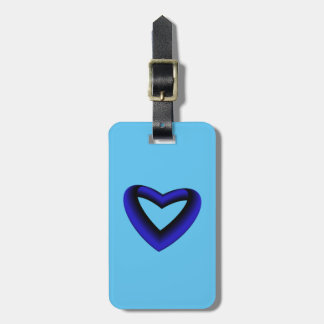 Blue and Black Gradient Heart Luggage Tag