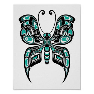 Blue and Black Haida Spirit Butterfly on White Poster