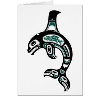Blue and Black Haida Spirit Killer Whale Card