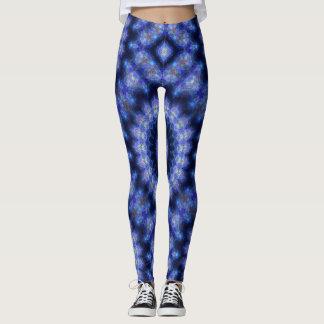 Blue and Black Kaleidoscope Fractal Legging
