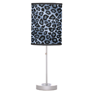 Blue and Black Leopard Animal Print Table Lamps