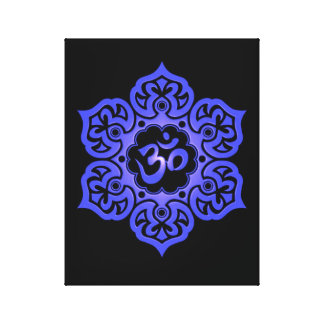 Blue and Black Lotus Flower Om Stretched Canvas Print