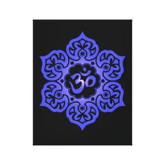Blue and Black Lotus Flower Om Canvas Print