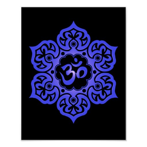 Blue and Black Lotus Flower Om Posters