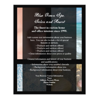 Blue and Black Luxury Spa Resort Theme Personalized Flyer