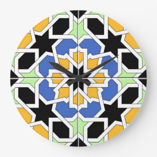 Blue and black Moroccan tile mosaic 02 in Wallclock