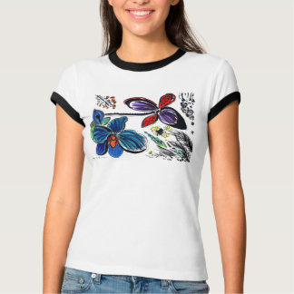 Blue and black orchids two sides T-Shirt