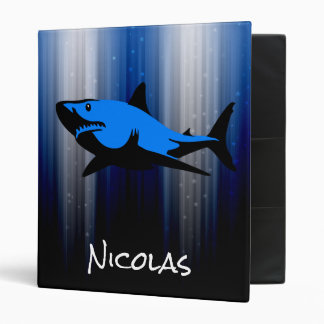 Blue and Black Personalized Shark School 3 Ring Binder