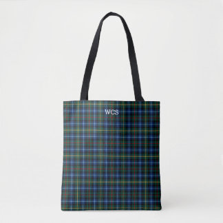 Blue and Black Plaid Clan Smith Tartan Monogram Tote Bag