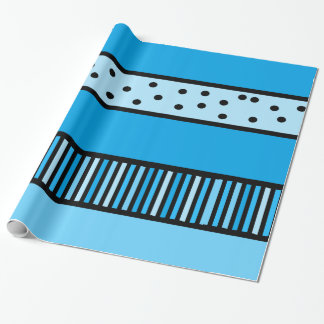 Blue and Black Polka Dot and Stripes Gift Wrap