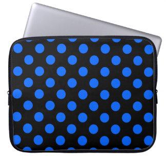 Blue and black polka dots laptop sleeve