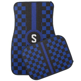 Blue and Black Racing Stripe | Monogram Car Carpet