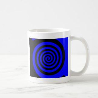 Blue and Black Spiral Basic White Mug