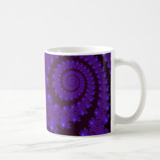 Blue and Black Spiral Fractal Coffee Mug