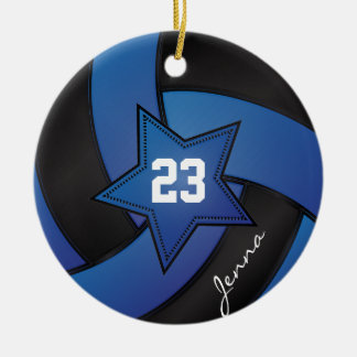 Blue and Black Star Volleyball Round Ceramic Ornament