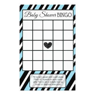 Blue and Black Stripe Boy baby shower games Flyer