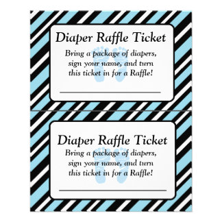 Blue and Black Striped Baby Shower Raffle Ticket Flyer