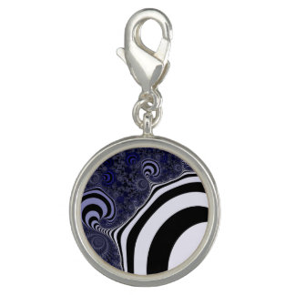 Blue and black striped  fractal. charm