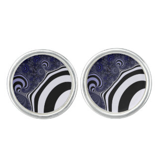 Blue and black striped  fractal. cufflinks